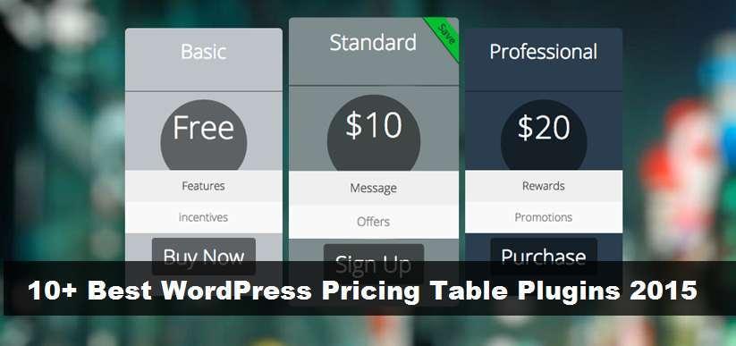 10+ Best WordPress Pricing Table Plugins 2015
