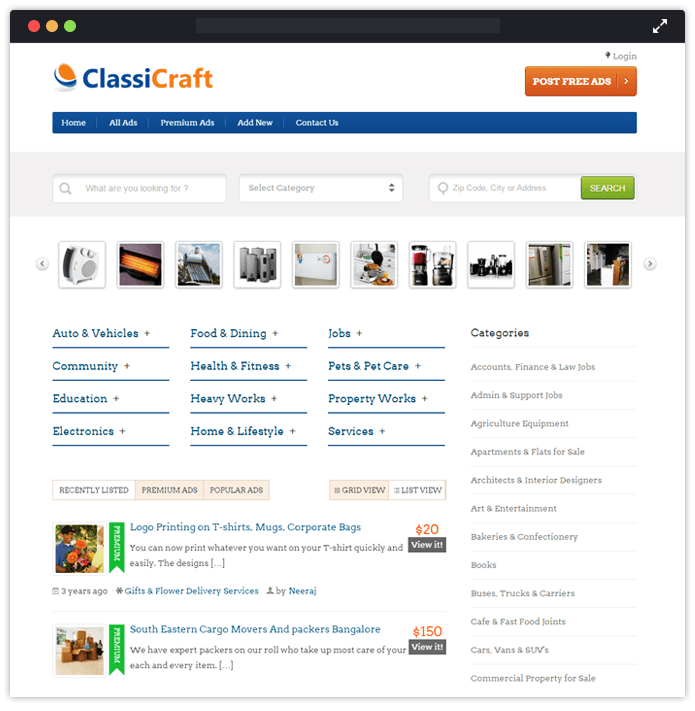WordPress Classified Theme