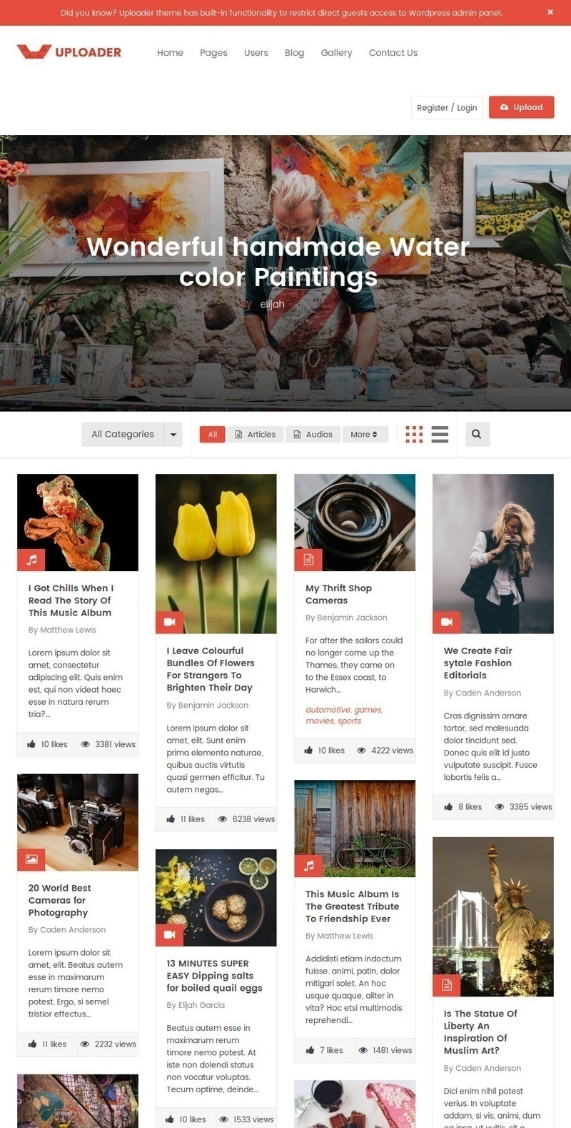 content sharing WordPress themes